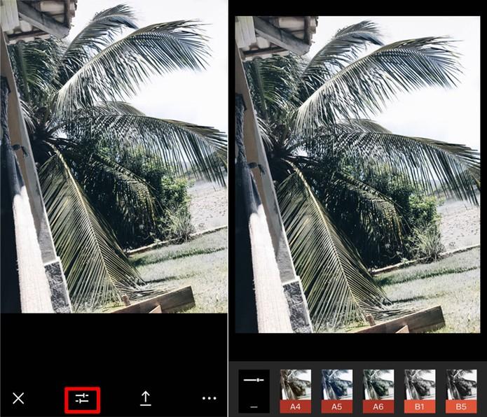 """O VSCO Cam tem várias opções de filtro para tornar suas fotos para o Instagram mais """"clean"""" (Foto: Carolina Ochsendorf/TechTudo )"""