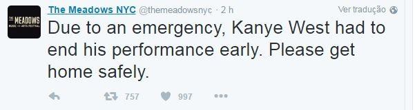 Tweet publicado na página do festival onde Kanie West se apresentava (Foto: Reprodução/Twitter)