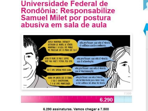 Alunos da Unir fizeram abaixo assinado pedindo a responsabilização do professor pelas palavras de agressão proferidas contra a palestrante da UNB que veio à Rondônia falar sobre gênero (Foto: Avaaz/Reprodução)