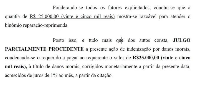 Trecho do processo movido pelo ex-árbitro Guilherme Ceretta de Lima contra o atacante Dudu (Foto: Reprodução)