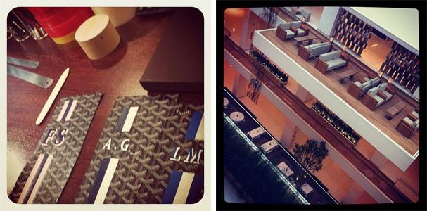 As bolsas personalizadas na Goyard e os sofás superconfortáveis  (Foto: Renata Kalil)