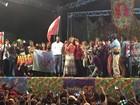 Jandira Feghali faz comício na Cinelândia com presença de Dilma