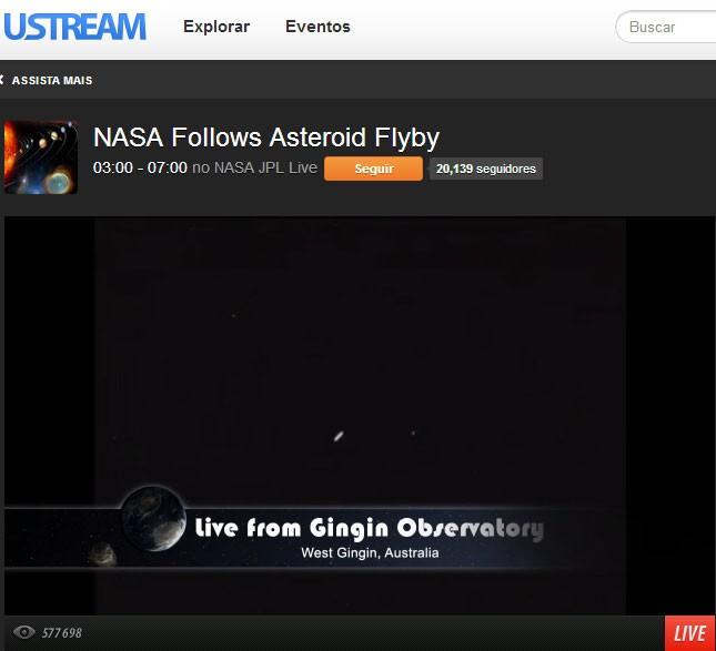 Imagem divulgada pela Nasa mostra momento da passagem do asteroide a 27 mil km de distância da Terra' (Foto: Reprodução)