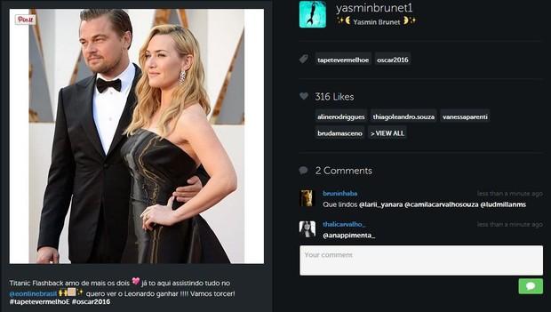 Yasmim Brunet brinca com encontro de Leonardo DiCaprio e  Kate Winslet (Foto: Reprodução/Instagram)