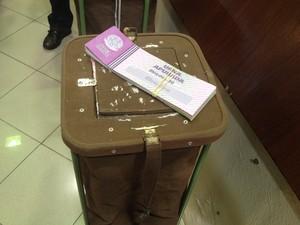 Alunos selecionados registram os votos em urnas de lona  (Foto: Juliana Barros/G1)
