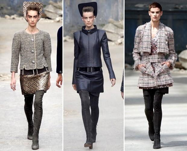 Os modelos desfilados com os novos looks couture da Chanel (Foto: Getty Images)