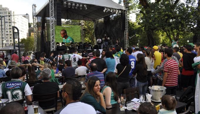 Torcida assistiu ao jogo da final em um telão no centro de Poços de Caldas (MG) (Foto: Lucas Soares / G1)