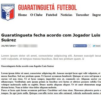 Luis Suáres Guaratinguetá site oficial (Foto: Reprodução/ guarafutebol.com.br)