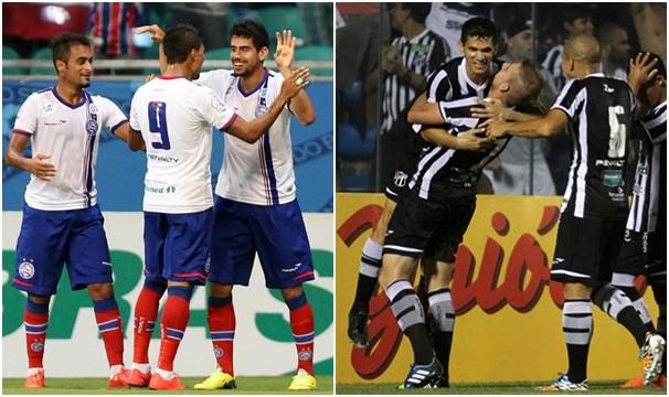 Bahia x Ceará fazem primeiro jogo da final da Copa do Nordeste. (Foto: Felipe Oliveira / EC Bahia e Christian Alekson / Ceará SC)