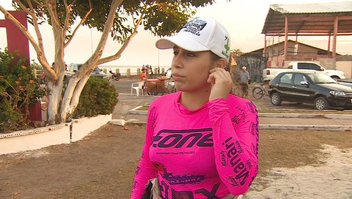 Nicole Góes, vencedora da II Travessia de Kitesurfe; Amapá (Foto: Reprodução/Rede Amazônica no Amapá)