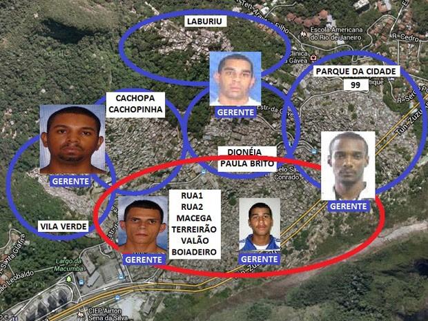 Mapa identifica áreas de grupos de traficantes rivais da Rcoinha comandadas por Djalma (em azul) e David  (em vermelho) (Foto: Divulgação/ Polícia Civil)