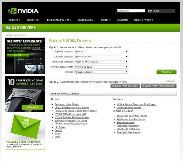 Acesse o site da GeForce para atualizar seu driver  (Foto: Reprodução/Paulo Vasconcellos)