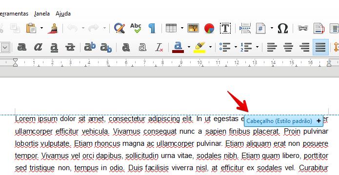Adicione um cabeçalho ou rodapé às páginas do documento (Foto: Reprodução/Helito Bijora)