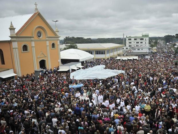 Romaria Caravaggio RS (Foto: Porthus Junior/Agência RBS)