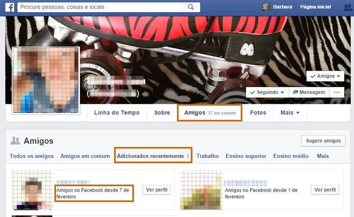 Confira a lista de amigos adicionados recentemente do seu contato no Facebook (Foto: Reprodução/Barbara Mannara)