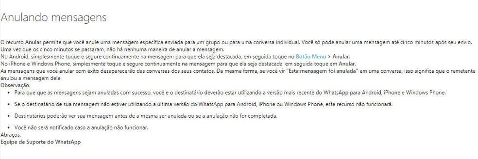 Whatsapp deu instruções sobre função para anular mensagens enviadas em sua página de suporte, mas as apagou em seguida (Foto: Reprodução)