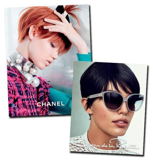 """Na moda: lindsey Wixson de pixie na campanha deste verão da Chanel; já oscar de la Renta usou os curtinhos para cortar o """"excesso de açúcar"""" de seus vestidos. (Foto:  )"""