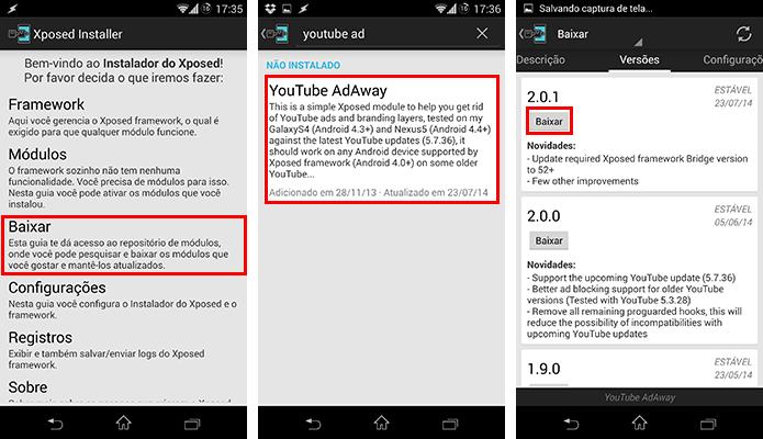 Baixe o módulo YouTube AdAway (Foto: Reprodução/Paulo Alves)