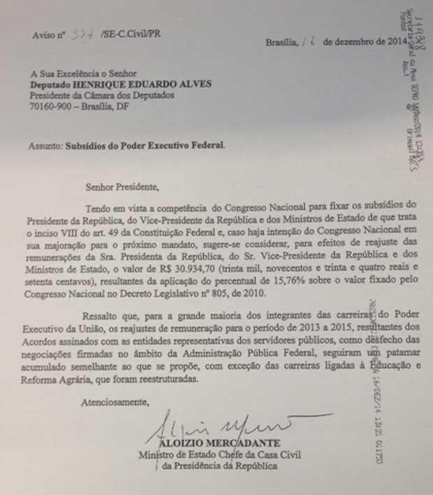 Ofício de Mercadante ao Legislativo (Foto: Reprodução)