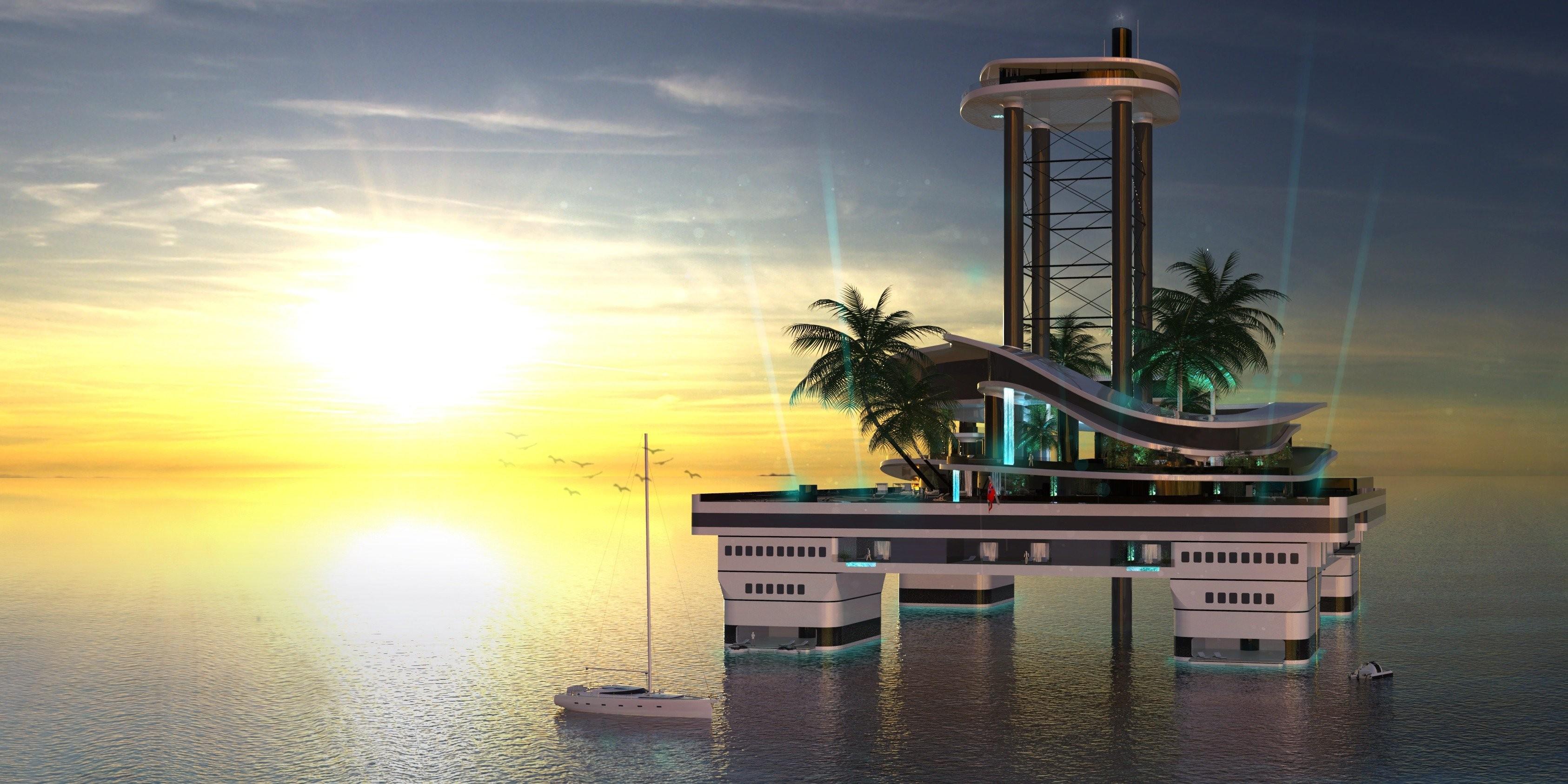 Para competir com megaiates, chega a ilha particular móvel