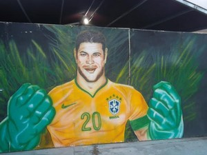 Imagem de Hulk no Parque do Povo, em Campina Grande (Foto: Rafael Melo/G1)
