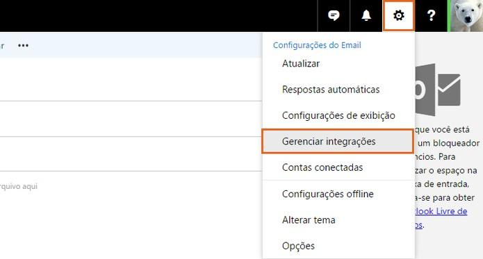 Acesse as configurações para gerenciar os plugins do Outlook (Foto: Reprodução/Barbara Mannara)