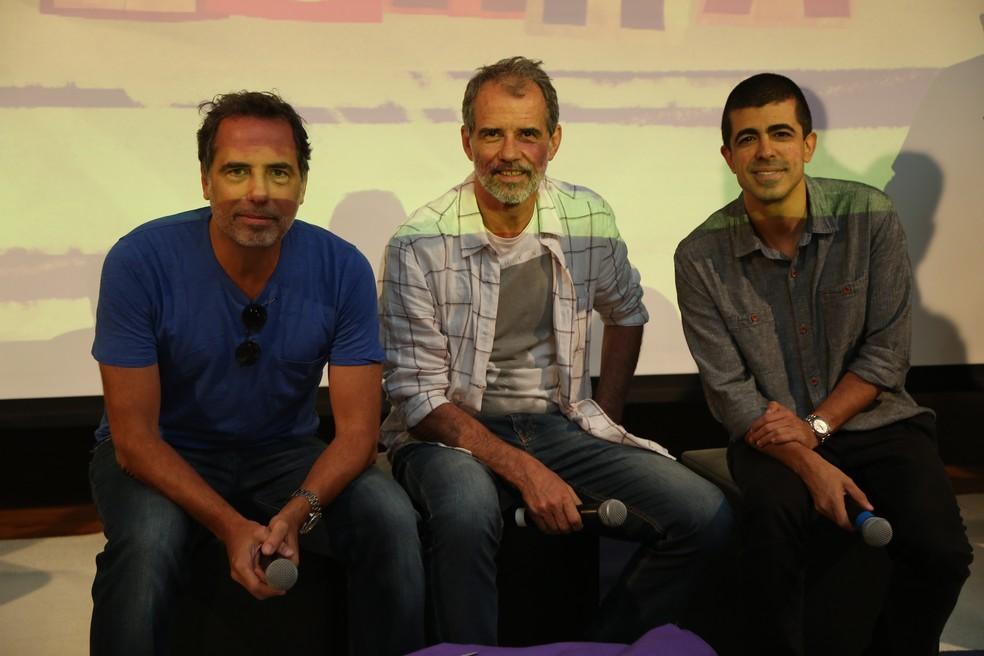 Maurício Farias, Mauro Farias e Marcius Melhem na coletiva de 'Zorra' (Foto: Isabella Pinheiro/Gshow)