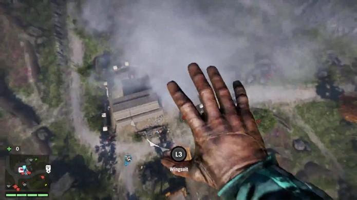 Execuções com a faca podem ser realizadas de qualquer altura sem dano por queda em Far Cry 4 (Foto: Reprodução: YouTube)