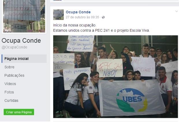 Ocupação na Escola Conde de Linhares, em Colatina (Foto: Reprodução/Facebook)