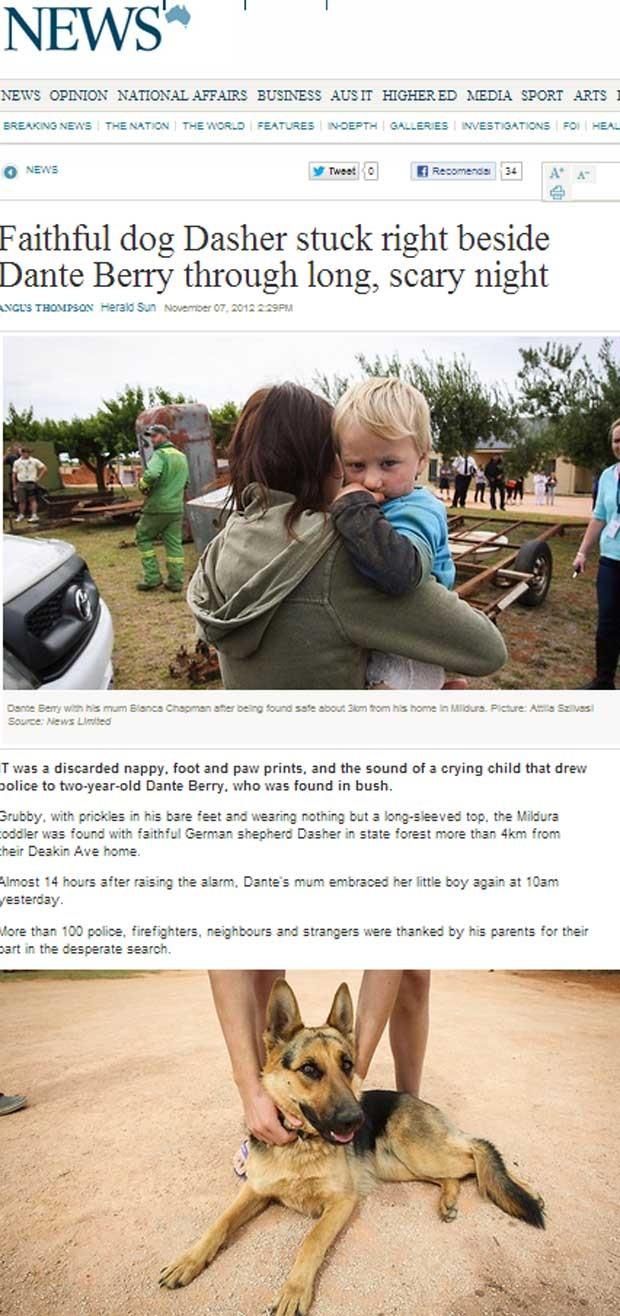 Australiano Dante Berry, 2, passou noite fora de casa com cão esperando pelo resgate (Foto: Reprodução)
