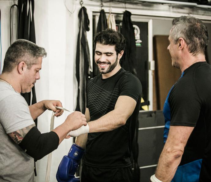 Atores estão animados com a preparação do boxe (Foto: Raphael Dias/Gshow)