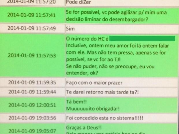 Mensagem trocadas em aplicativo de celular revelam negociação para obter habeas corpus para criminosos mediante pagamento de até R$ 150 mil (Foto: PF/Reprodução)