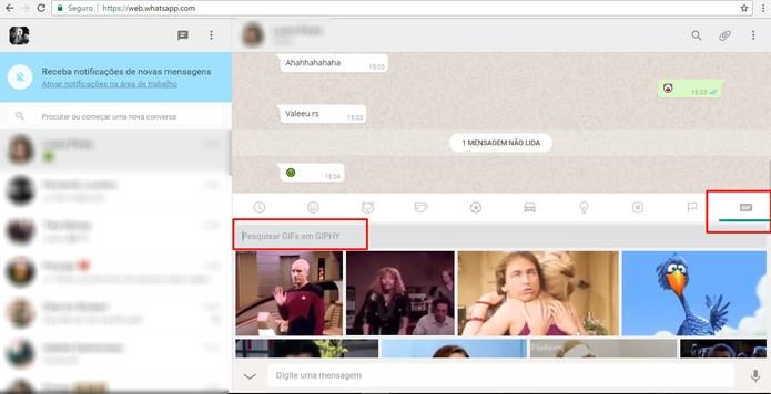 Agora é possível enviar GIFs pelo WhatsApp Web (Foto: Reprodução/Camila Peres)