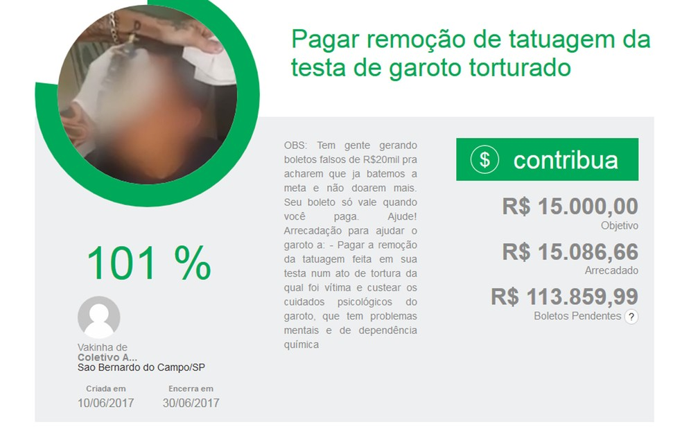 Vaquinha online arrecadou R$ 15 mil (Foto: Reprodução)