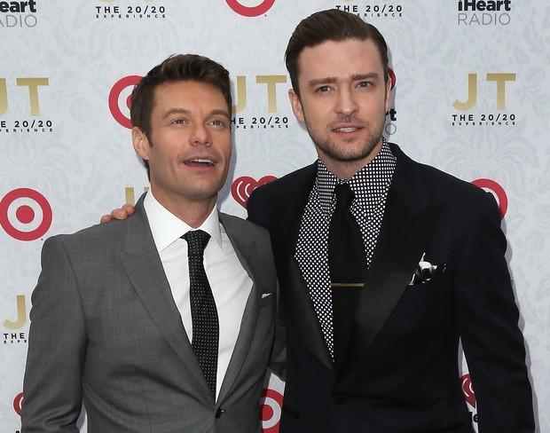Ryan Seacrest e Justin Timberlake no lançamento do novo álbum do cantor em Los Angeles, nos Estados Unidos (Foto: David Livingston/ Getty Images/ AFP)