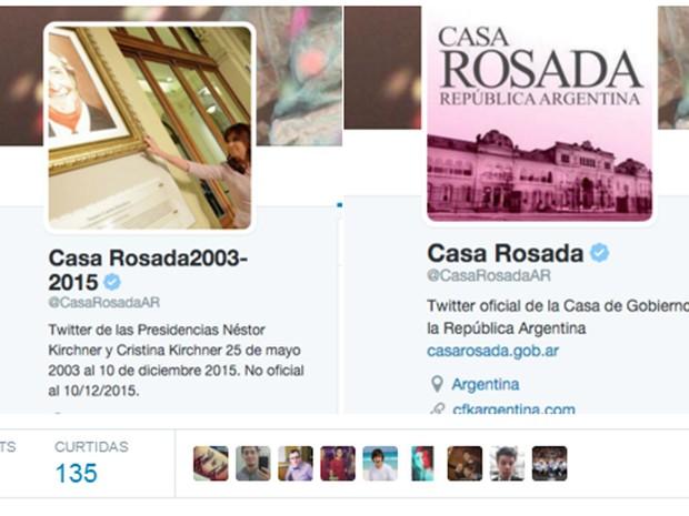 Perfil da Casa Rosada no Twitter em 10 de dezembro e antes da mudança de nome e descrição (Foto: Reprodução/Twitter/Federico Aikawa)