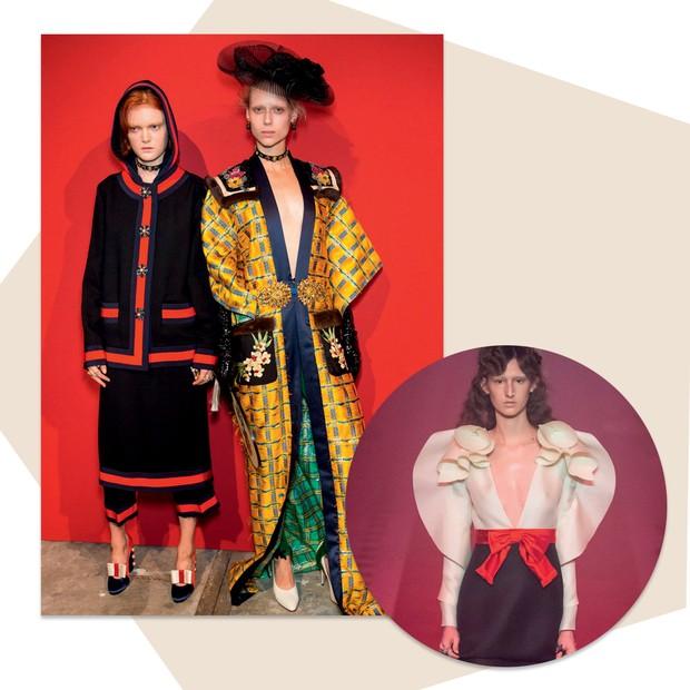 Gucci: Alessandro Michele espertamente combina elementos de diferentes épocas em seus desfiles, criando uma narrativa com múltiplos caminhos (Foto: Getty Images e Imaxtree)