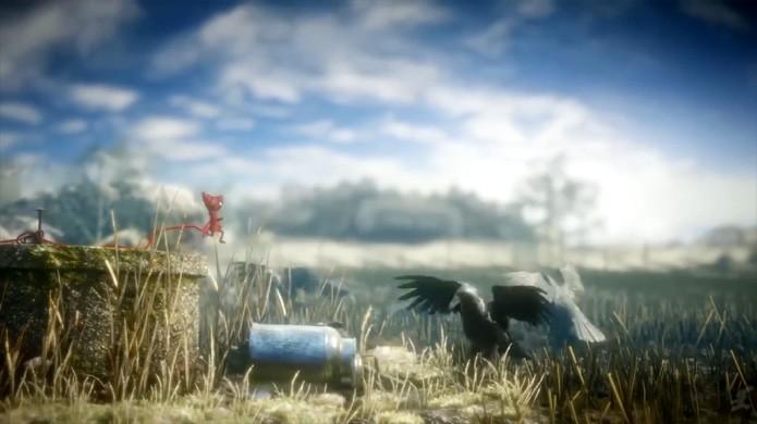 Yarny derruba uma garrafa em Unravel e irrita um grupo de gaivotas (Foto: Reprodução/YouTube)