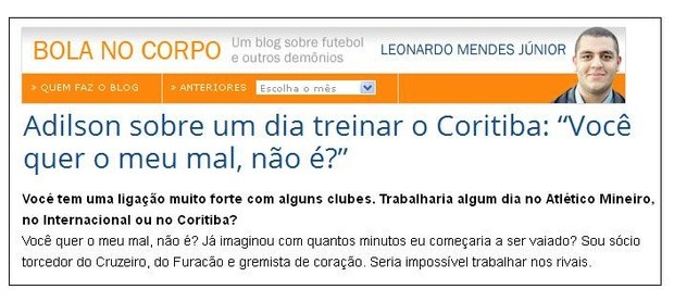 Blog Torcida Coritiba - Adilson Batista