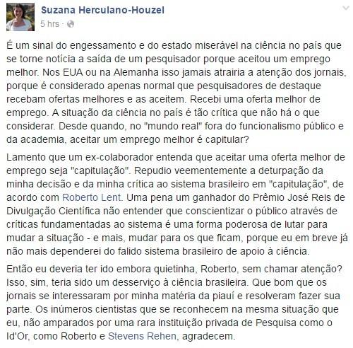 Suana Herculano-Houzel: a ciência não tem fronteiras (Foto: Reprodução Facebook)