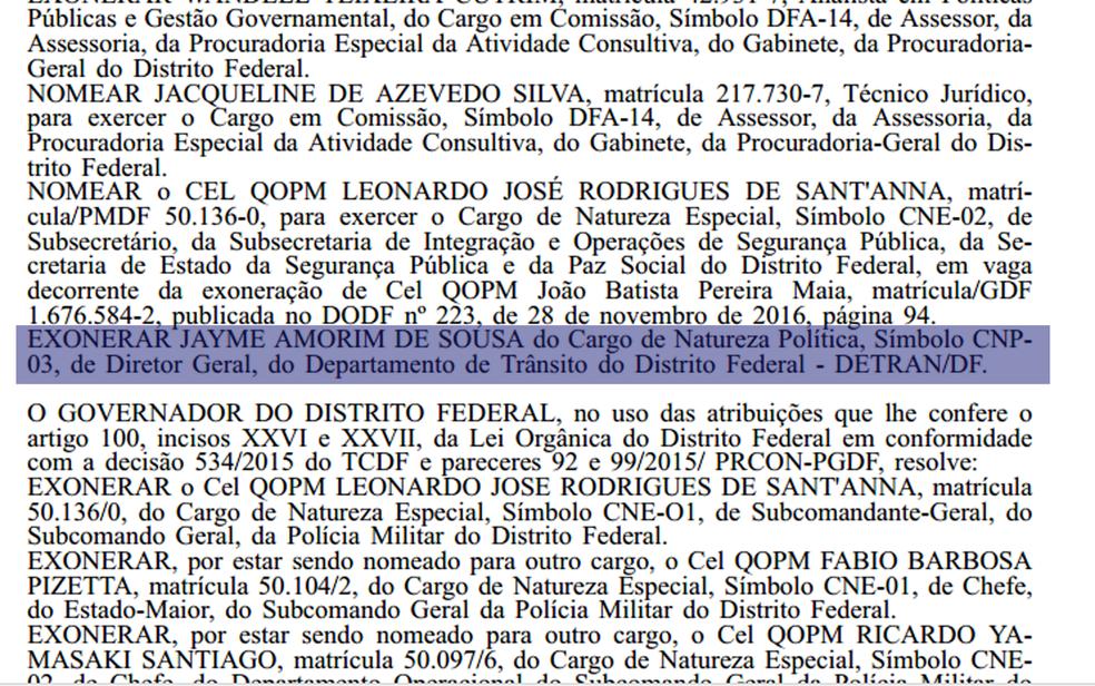 Diário Oficial com publicação trazendo exoneração do diretor do Detran, Jayme Amorim (Foto: Reprodução)
