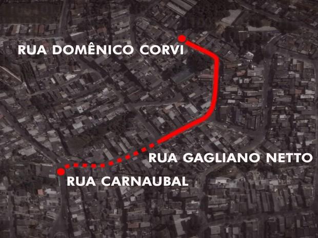 Bairro da Zona Sul de São Paulo teve seis assassinatos em trecho de 500 metros (Foto: Reprodução TV Globo)