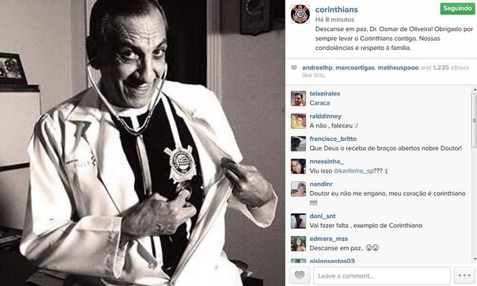 Corinthians faz homenagem a Dr. Osmar (Foto: Reprodução/Instagram)