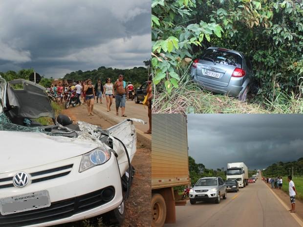 Após acidente houve congestionamento na BR-364 (Foto: Ivanete Damasceno/G1)