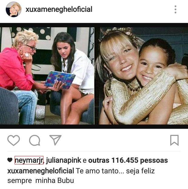 Neymar curte mensagem de aniversário de Xuxa para Bruna Marquezine  (Foto: Reprodução)