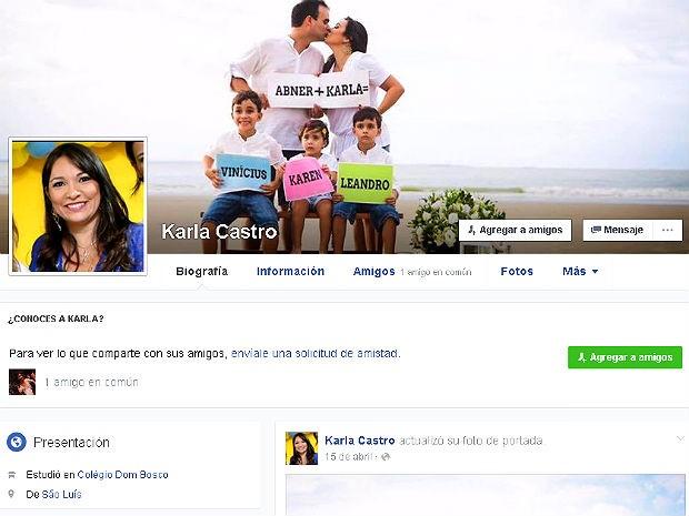 Perfil em rede social de Karla Castro Soares, morta após lipoaspiração em Brasília-DF (Foto: Facebook/Reprodução)