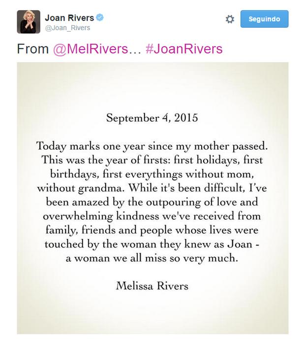 Ego Filha De Joan Rivers Relembra Um Ano Da Morte Da Mãe Tem