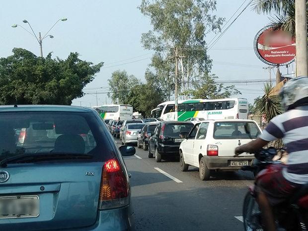 Congestionamento foi registrado na manhã desta terça-feira em Cuiabá. (Foto: Diego Campos/Arquivo pessoal)