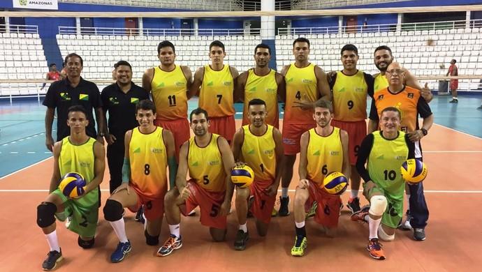 Seleção acreana de vôlei adulto masculino Copa Amazônia de Vôlei 2016 (Foto: Carlos Leopoldo/Arquivo Pessoal)