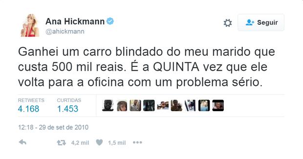 Ana Hickman postando no Twitter (Foto: Reprodução/Twitter)